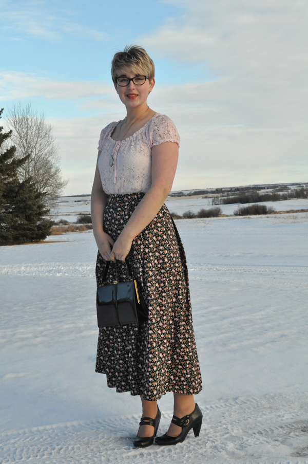 the artyologist- imag of valentine's outfit consisting of a floral skirt and pink lace blouse