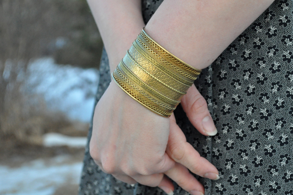 the artyologist- image of a vintage monochromatic look and brass cuff from india