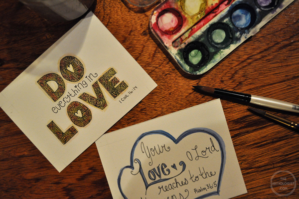 the artyologist- image of hand lettering bible verse cards
