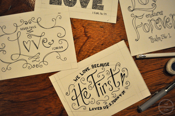the artyologist- image of ink hand lettered cards in progress