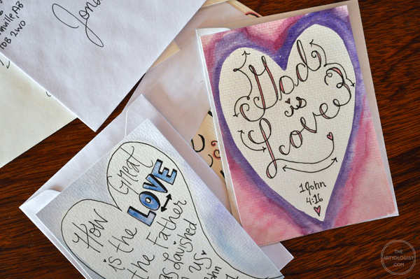 the artyologist- image of hand lettered bible verse valentines ready to mail