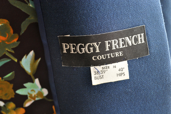 the artyologist- image of a peggy french couture tag for 1960's swing coat
