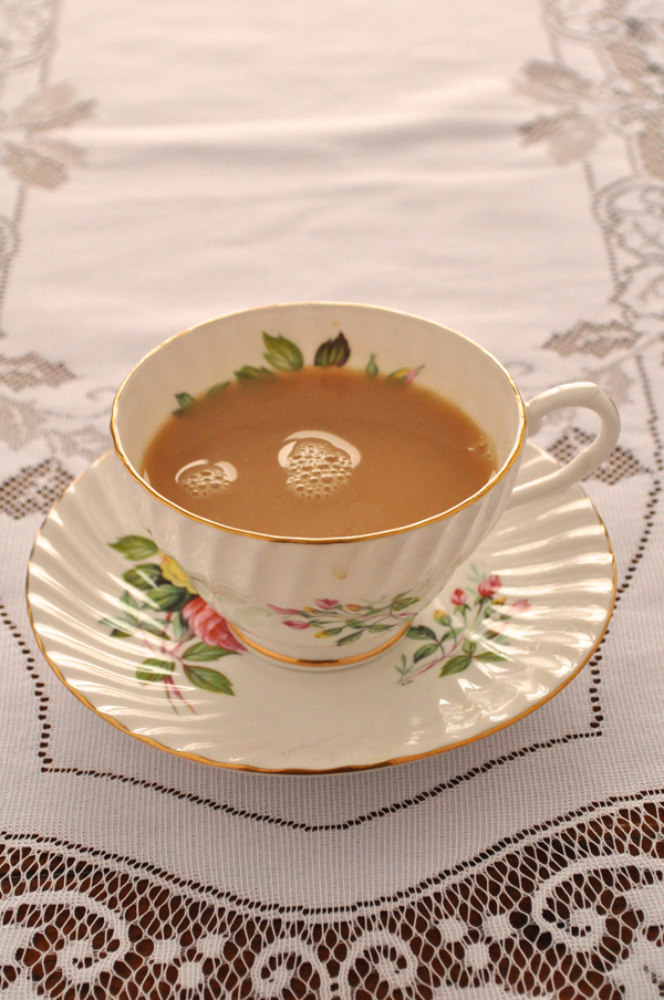 the artyologist- image of floral porcelain teacup at valentine's tea party