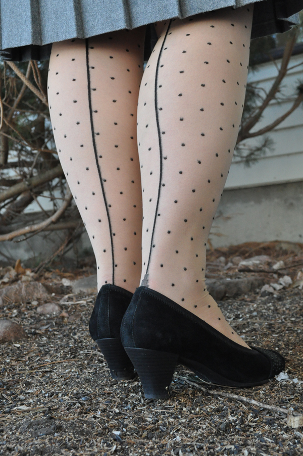 the artyologist - image of vintage 1940's style outfit with wool grey skirt, what katie did polka dot tights , and suede shoes