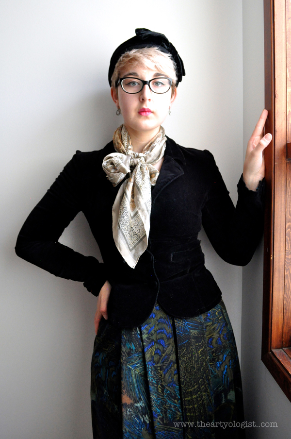 the artyologist image of vintage peacock skirt and black velvet blazer
