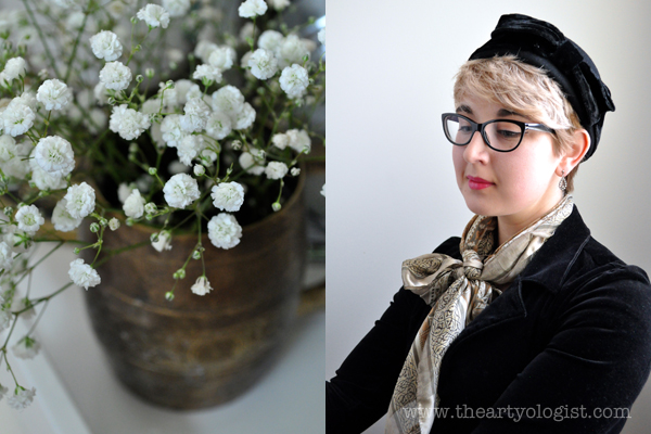 the artyologist image of baby's breath flowers and portrait with velvet blazer and vintage hat