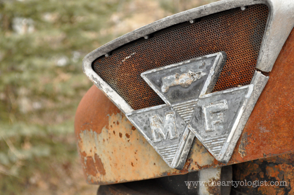 the artyologist- image of rusted massey ferguson decal