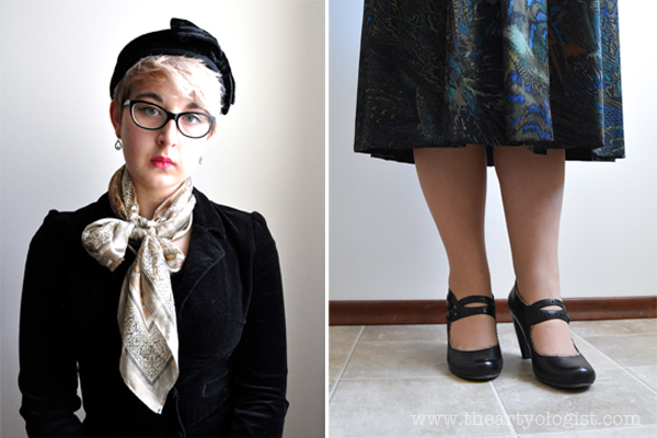 the artyologist image of velvet blazer, hat with velvet bow and mary jane miz mooz shoes