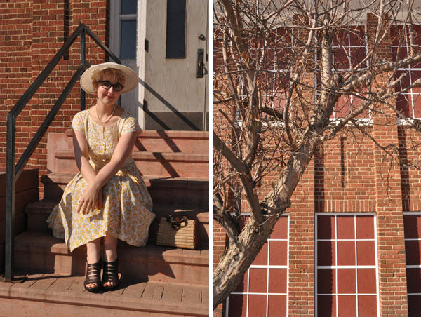 the artyologist image of school building and steps 1950's vintage vogue 1044 easter outfit