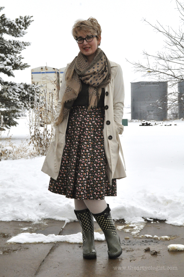 the artyologist image of dream vs reality spring dressing with trenchcoat, black floral skirt and scarf