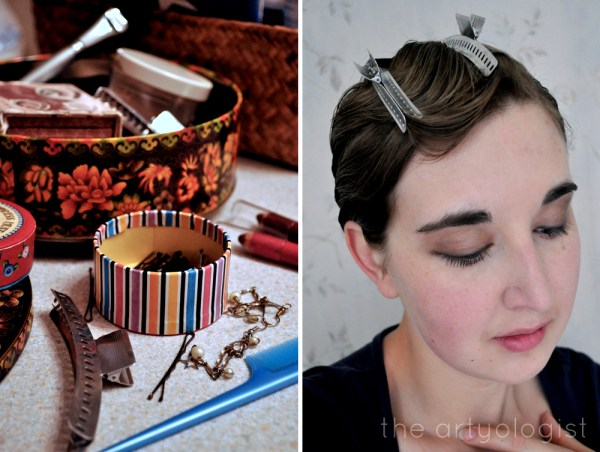 image of 1920's finger waves in progress clips, the artyologist