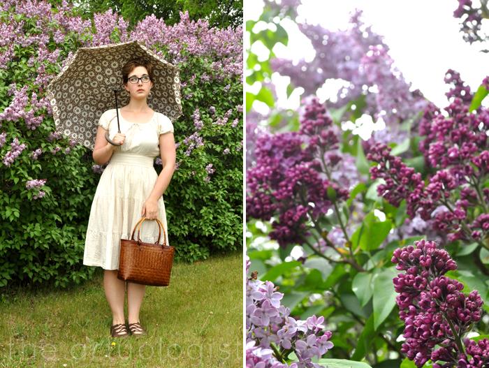 image of lilacs, seersucker dress and umbrella the artyologist