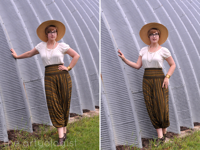 harem pants with a vintage style blouse the artyologist