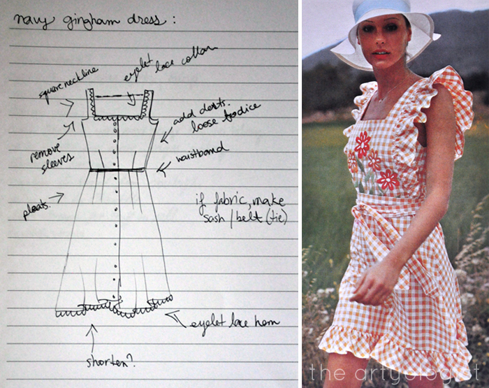 Gingham pinafore inspiration and sketch the artyologist