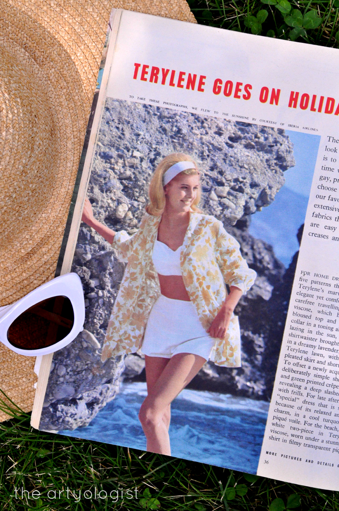 1965 Fashion: Terylene Goes on Holiday Woman and Home Magazine Beach Suit, the artyologist