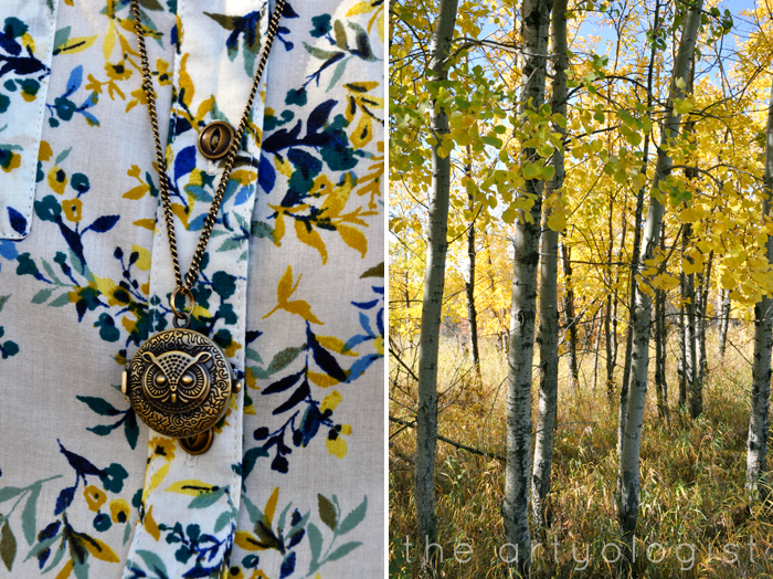 How to Colour Match your Surroundings, the artyologist, necklace and trees