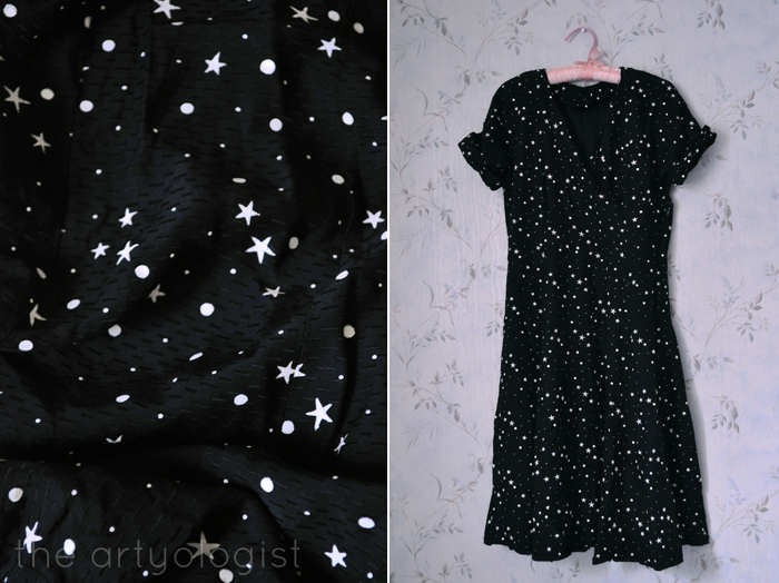 black-stars-dress, thrifting, the artyologist