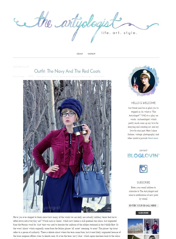 old blog style, the artyologist