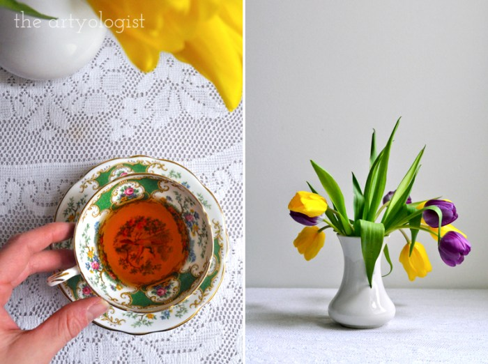 Tea and Tulips on a February Day, the artyologist, teacup top view and vase