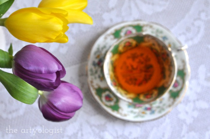 Tea and Tulips on a February Day, the artyologist, top view teacup