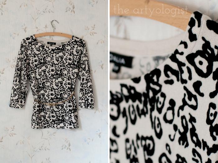 Fashion Revolution Haulternative (aka Thrift Finds) the artyologist, leopard sweater