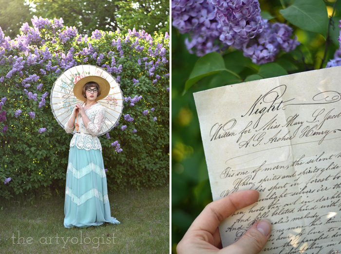 Lilacs and Love letters, the artyologist, parasol and poem