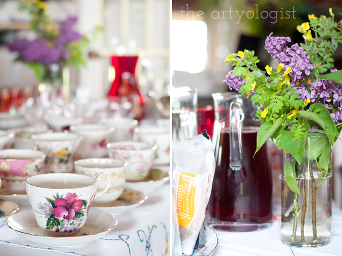 The Ladies Garden Tea (Which is not in a Garden): The Decor, teacups and bouquet