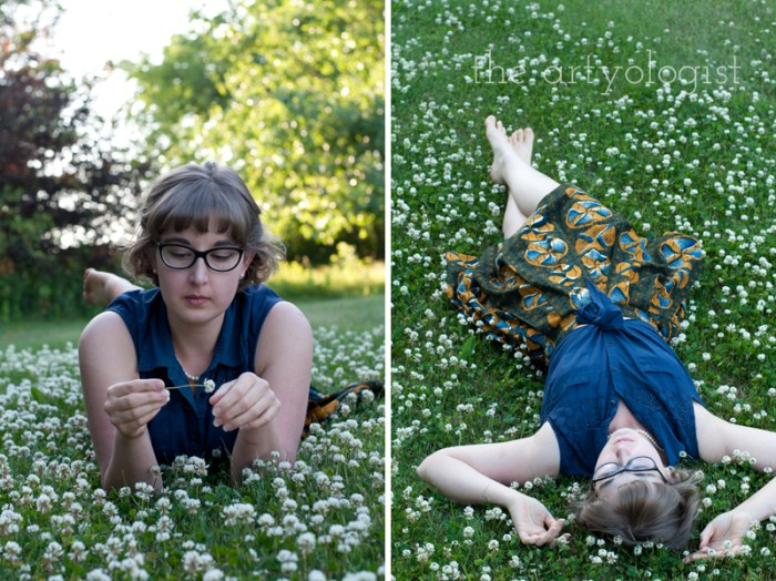 Amongst the Clover, lying in the clover tie front blouse, the artyologist