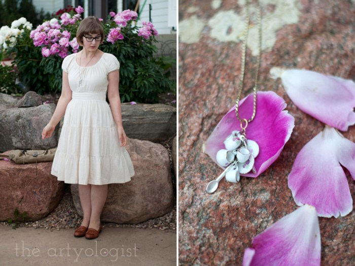 teacup necklace and seersucker dress, the artyologist