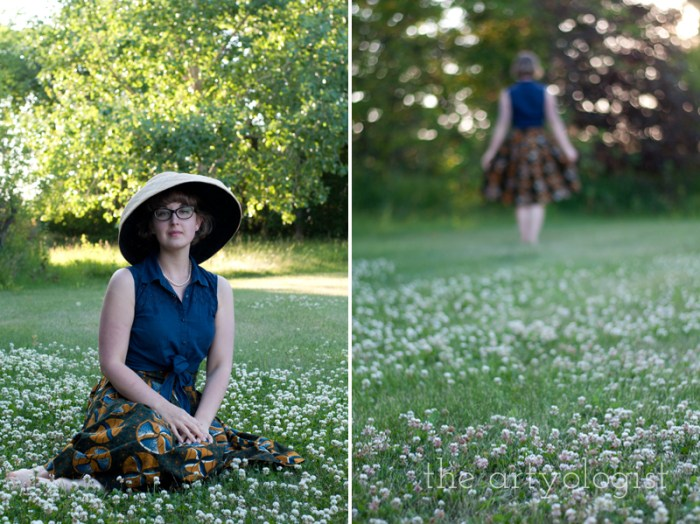 Amongst the Clover, wearing a sunhat, the artyologist