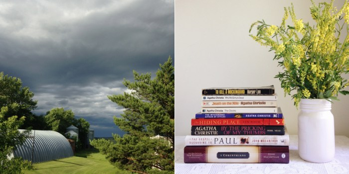 storm clouds and books