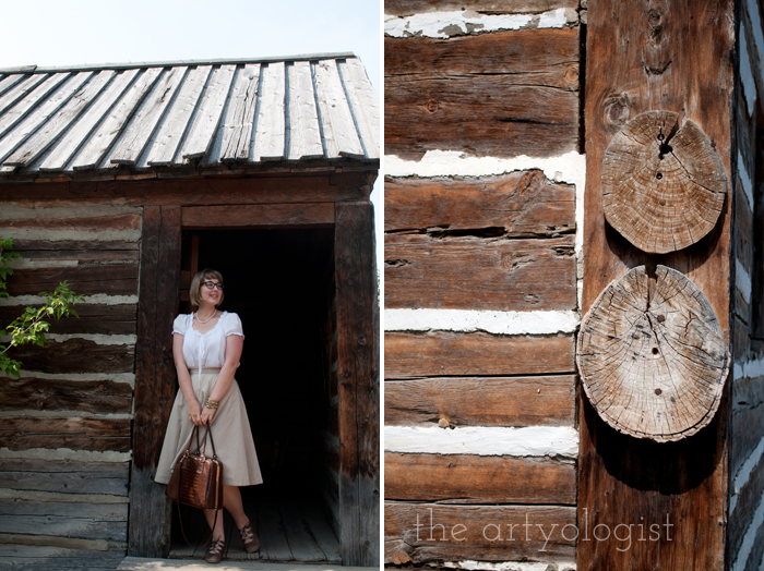 A Period Incorrect Outfit at Heritage Park , the artyologist, in-doorway-and-log-detail
