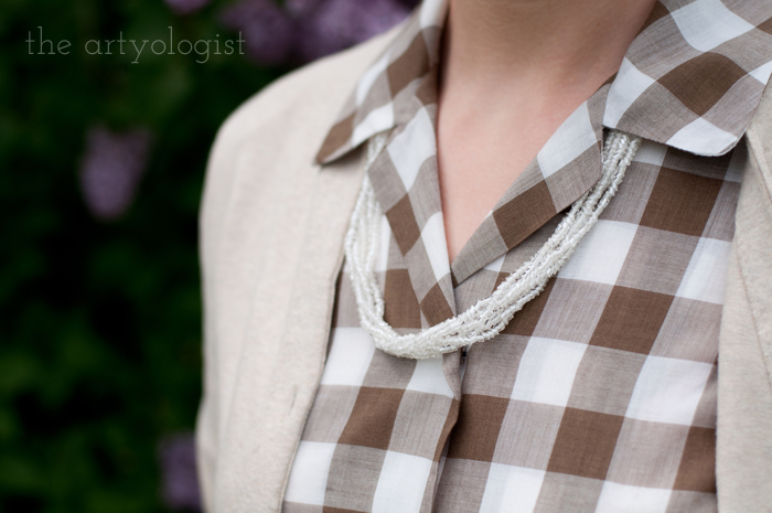 Lilacs, A Gingham Dress and The Second Post That Almost Wasn't, beaded vintage necklace