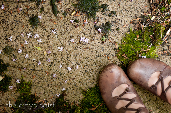 Lilacs, A Gingham Dress and The Second Post That Almost Wasn't, shoes and lilac petals