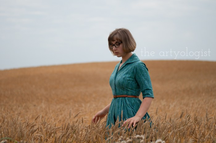"How to Wear Those ""Problem Garments"", the artyologist, walking in a wheat field"