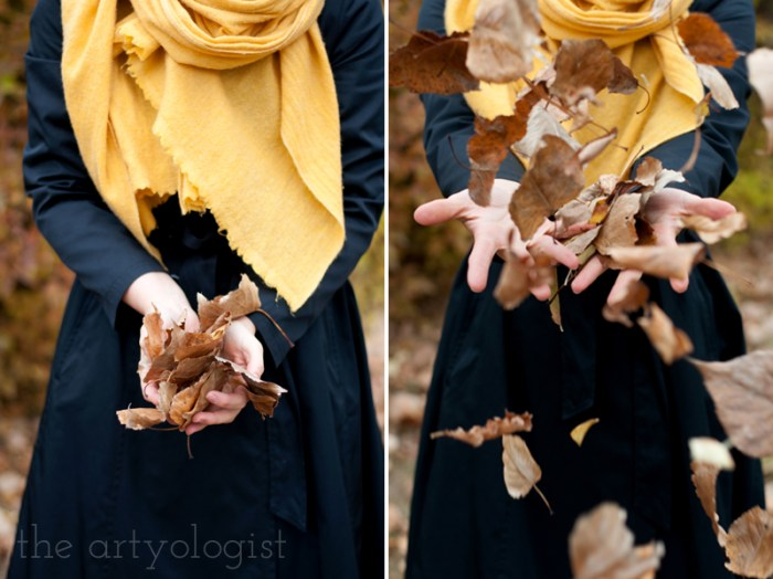 An Outfit For A Rather Windblown Autumn Day, the artyologist, throwing-leaves