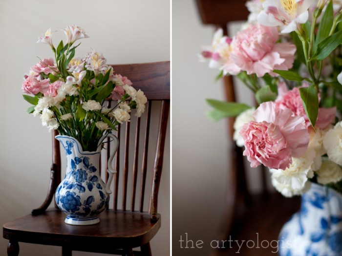Life Lately and An Everlasting Bouquet of Flowers, bouquet on chair and details