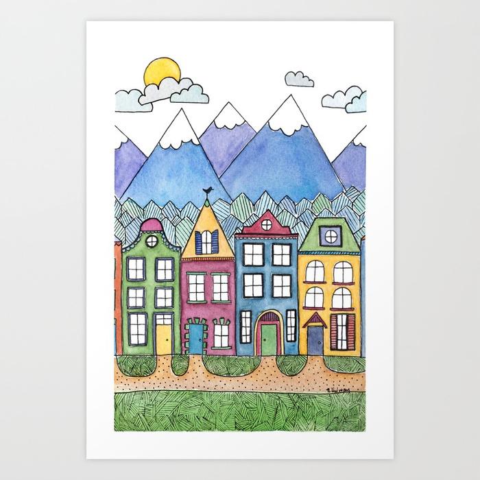 The Village Print, Giclee Print
