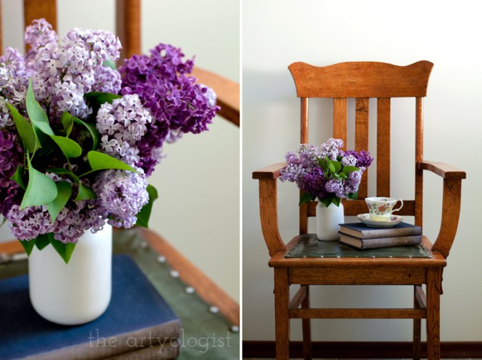 Lilacs to Welcome the First Day of Spring, bouquet and tea, the artyologist