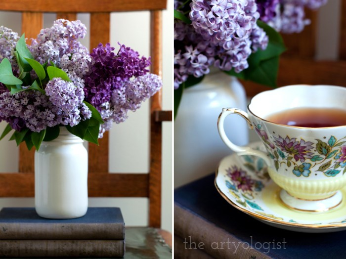 Lilacs to Welcome the First Day of Spring, bouquet with tea, the artyologist