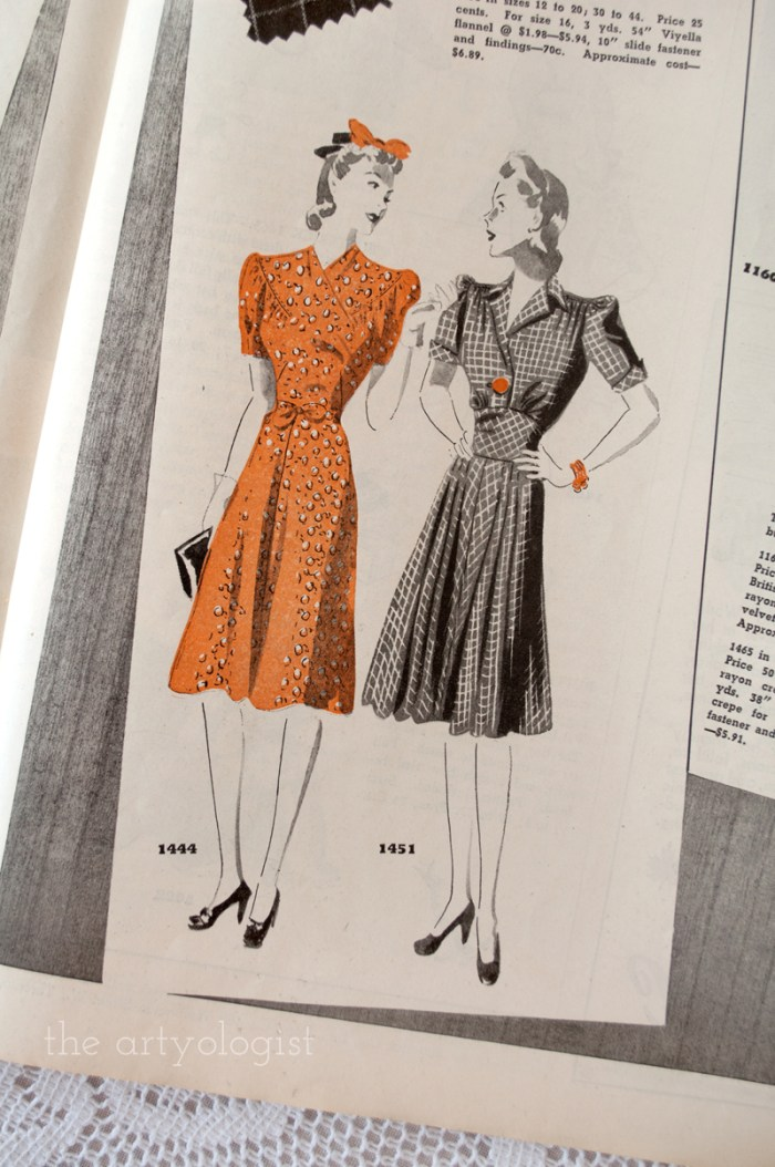 orange-dress, canadian home journal 1941, butterick 1444 and 1451, the artyologist