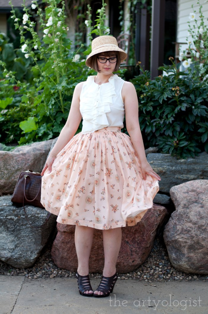 Well Loved Wardrobe, peach skirt, the artyologist