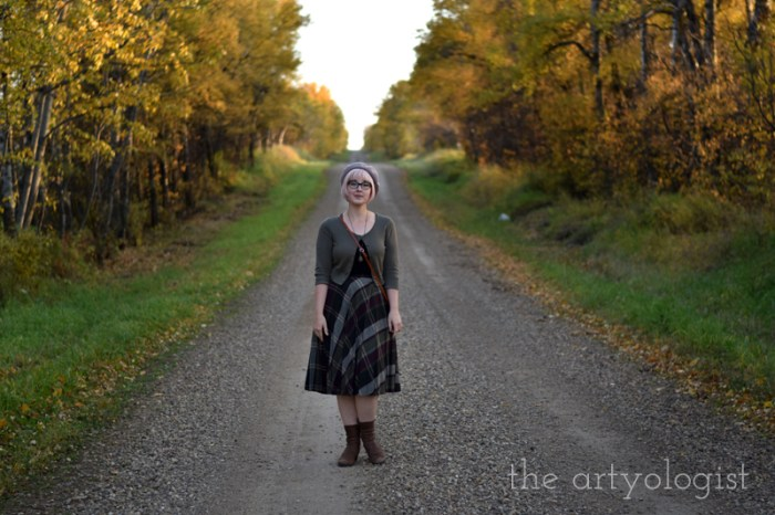 schoolgirl styled outfit in a country lane