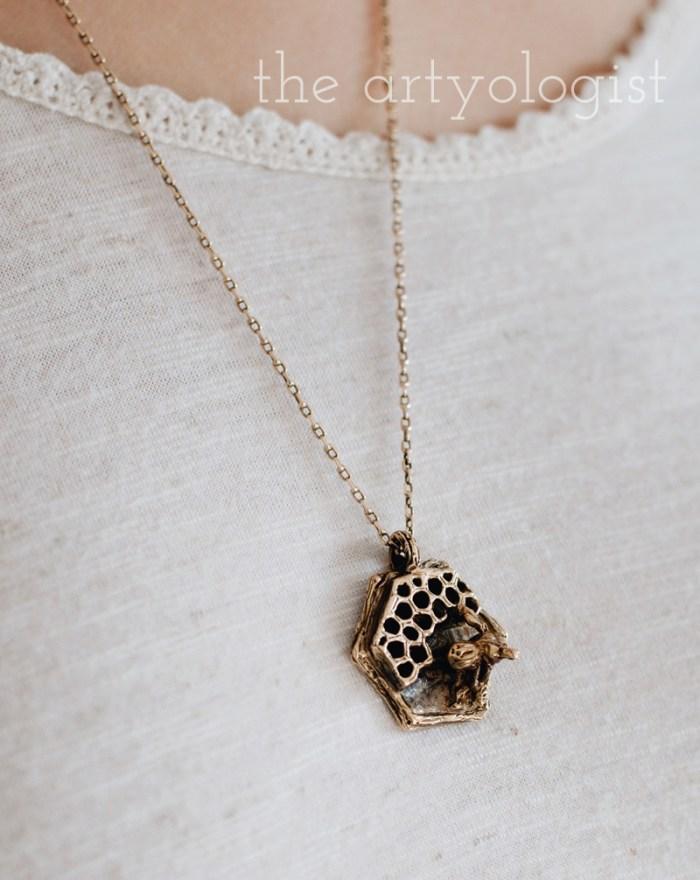 urban alchemy bee necklace