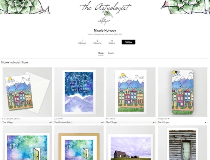link to society 6 shop