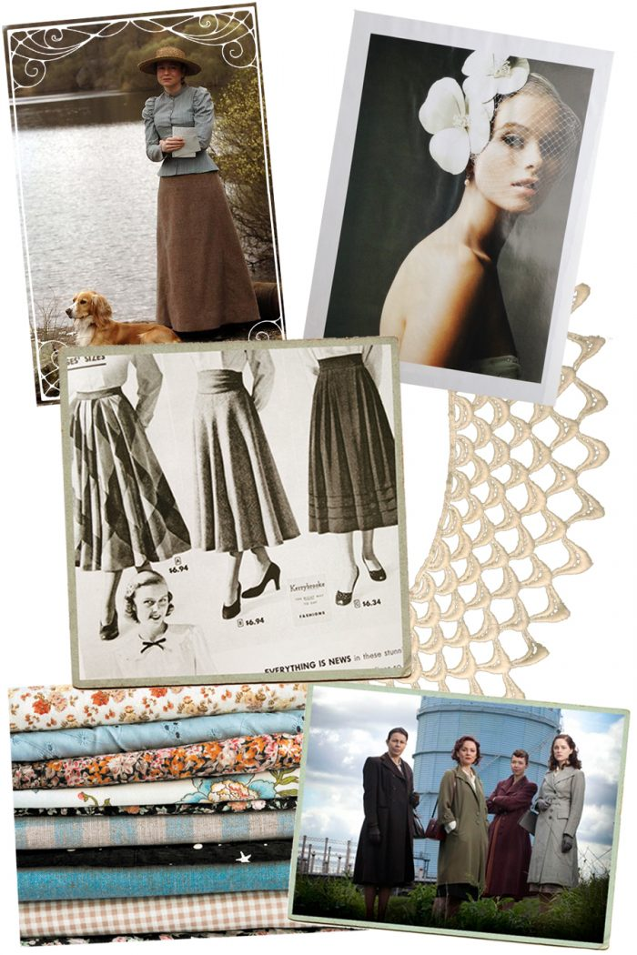 personal style collage of inspiration images including vintage skirts, Miss Potter costume, Bletchley Circle costumes, fascinator hat, vintage lace and a pile of fabric