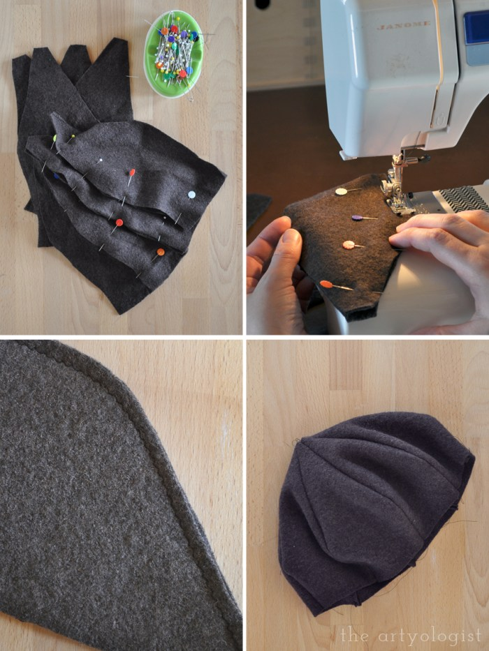 sewing the felted pieces of the hat