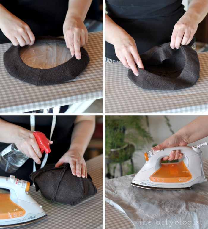 steaming and shaping the beret once dry