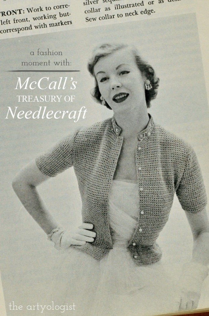 vintage lady wearing a short sleeved collared knit cardigan