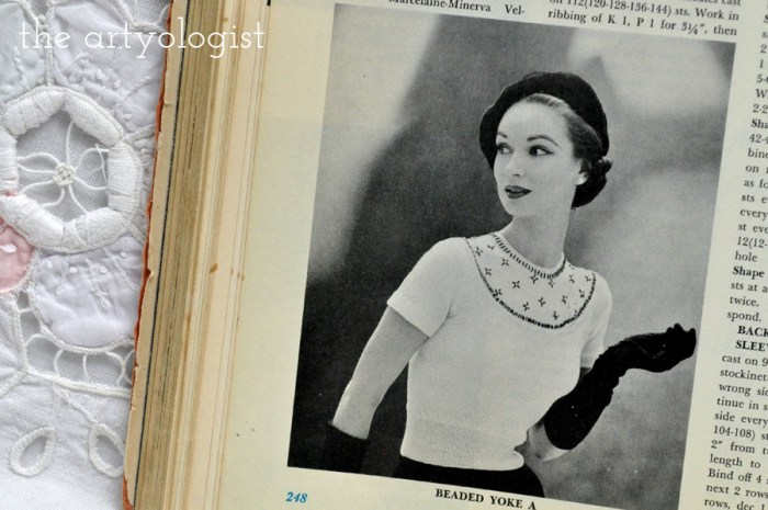vintage lady wearing a bead embellished sweater